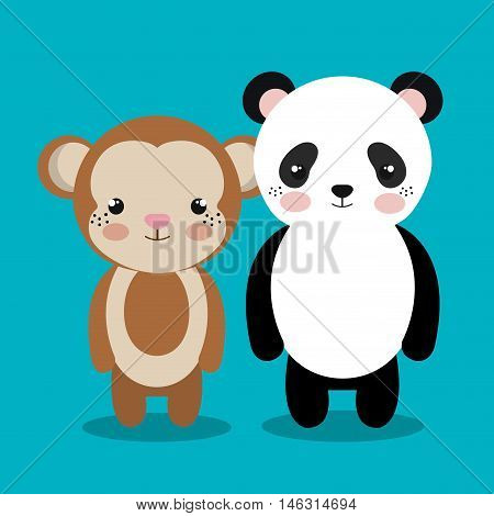 cartoon animal monkey panda plush stuffed design vector illustration eps 10