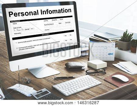 Personal Information Data Application Form Concept