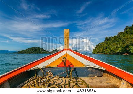 Summer Travel Vacation and Holiday concept - Tropical beach longtail boats Andaman Sea in Phuket Thailand