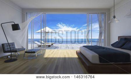 3D Bedroom Sea View
