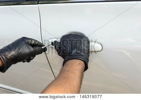 robbery product sample on a white car locksmith - can use to display or montage on your product