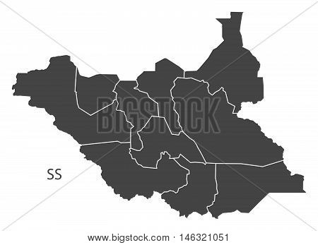 South Sudan grey map with regions isolated vector high res