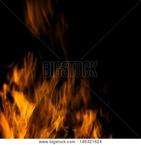 Photo of hot sparking live-coals burning spark of bonfire.