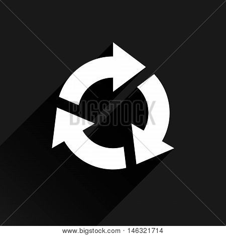 White arrow icon reload refresh rotation reset repeat sign. Web pictogram with long shadow on black background. Simple solid plain flat style. Vector illustration graphic design 8 eps