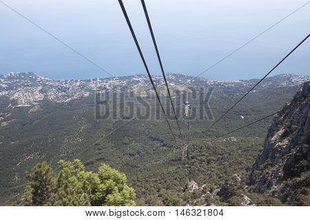 Mountain landscape recorded in Crimea Ukraine aerial cableway on I-Petri mountain.