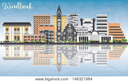 Windhoek Skyline with Color Buildings, Blue Sky and Reflections. Business Travel and Tourism Concept with Modern Buildings. Image for Presentation Banner Placard and Web Site.