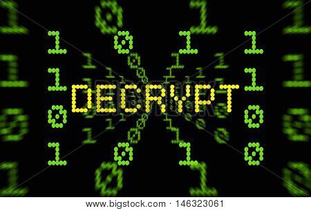 Word Decrypt surrounded by digits on dark background