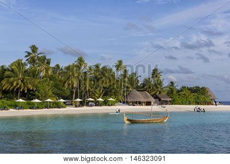 Male Maldives - June 14 2015 : Locals and tourists relax on city beach. This is the only artificial beach in Maldives
