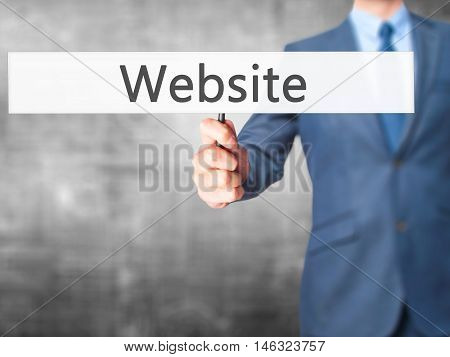 Website - Business Man Showing Sign