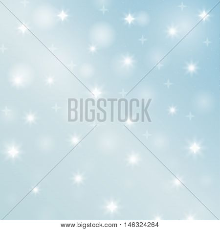 Abstract backdrop star. Decorative illustration with snow. Bright wallpaper bokeh. Christmas shapes. New Year art. Festive creative background. Simple graphic symbol. Vector.