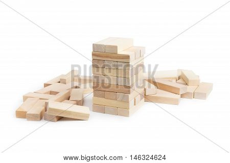 Construction of the tower Jenga games on a white background