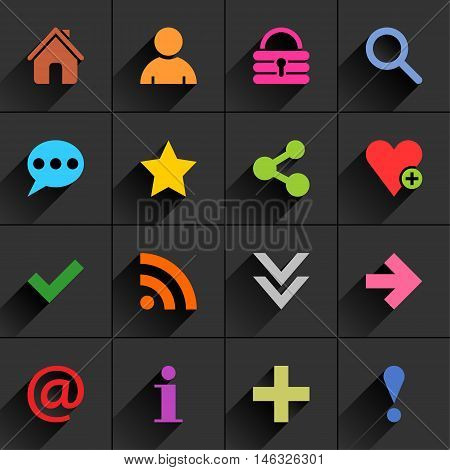 16 additional sign flat icon with gray long shadow. Blue green pink orange brown yellow violet purple red cobalt magenta signs on dark gray background. Vector illustration web element 8 eps