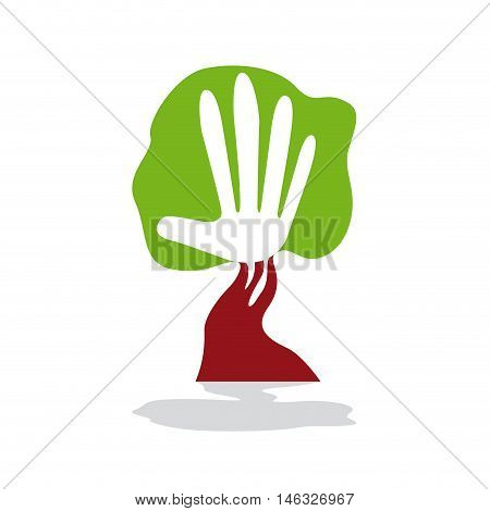 Vector sign green hand and tree, isolated illustration