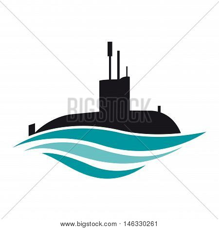 Vector sign submarine on blue waves, illustration
