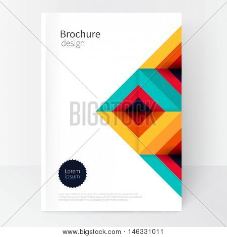 Modern Minimalistic cover template. Book design creative concept  cover for catalog, report, brochure.  turquoise, red & yellow abstract geometric background.geometric shapes Squares and triangles