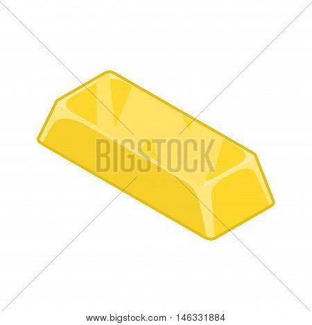 Ingot Of Gold Isolated. Cast Precious Metal On White Background. Richness And Jewel