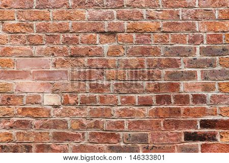 brickwork, masonry, building and textures concept - close up of red brick wall background