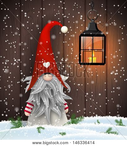 Nisser in Norway and Denmark, Tomtar in Sweden or Tonttu in Finnish, Scandinavian folklore elves, nordic christmas motive, Tomte standing in front of brown wooden wall in snow, vector illustration, eps 10 with transparency