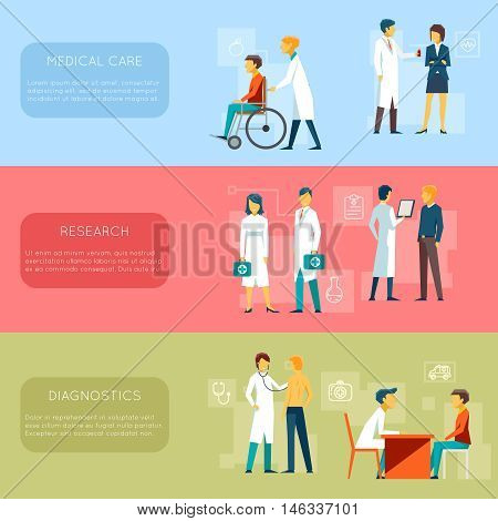 Doctor banners and medical staff banners vector set. Health Care, research, diagnostics illustration