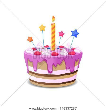 Birthday cake vector. Sweet cream pie with candles on white vackground vector illustration