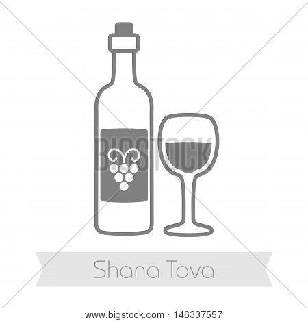 Bottle of wine and glass. Rosh Hashanah icon. Shana tova. Happy and sweet new year in Hebrew