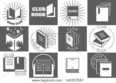 Education logo with books or reading emblems. Book school readbook club labels. Vector illustration