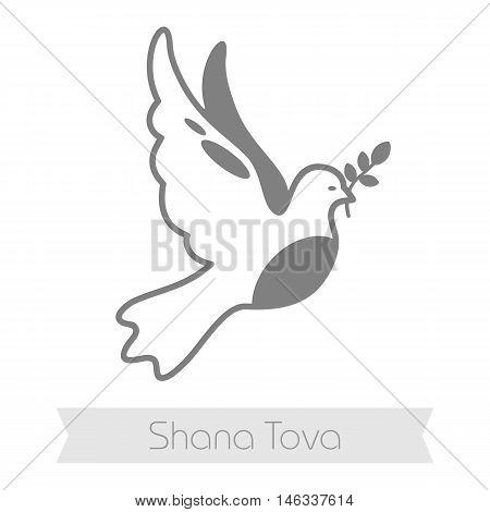 Dove. Rosh Hashanah icon. Shana tova. Happy and sweet new year in Hebrew