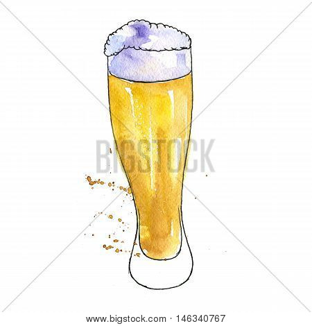 watercolor cup of beer, alcohol drink, octoberfest symbol, hand drawn illustration