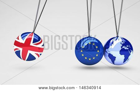 Brexit effect and global business consequences concept with Union Jack EU flag on balls and world map globe 3D illustration.