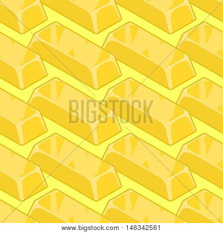Gold Bullion Seamless Pattern. Golden Ingot Of Precious Metal Background. Richness Of Texture. Jewel