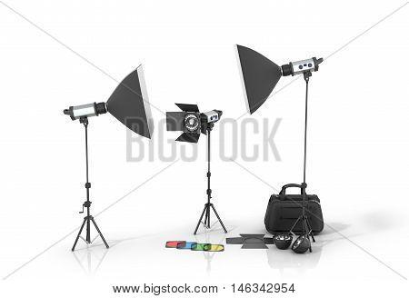 Photo studio equipment on a white bacground.3D illustration