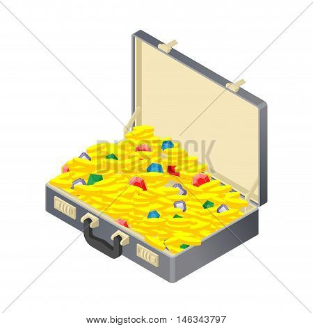 Suitcase With Gold Treasure. Case With Coins And Gems. Ruby And Diamond. Sapphire And Emerald. Suitc