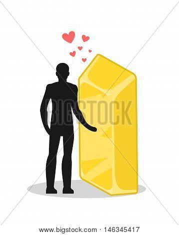 Lover Gold. Love In Wealth. Man And Golden Bullion. Lovers Holding Hands. Romantic Illustration