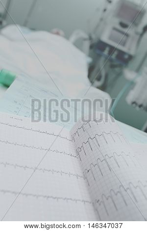 Recorded ECG in patient room medical background.