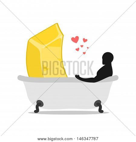 Lover Gold. Love Of Wealth. Golden Bullion And Man In Bath. Joint Bathing. Passion Feelings Among Lo