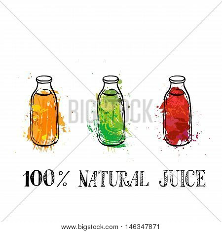 set of different color glass bootles with natural fresh fruit juice, hand drawn vector illustration