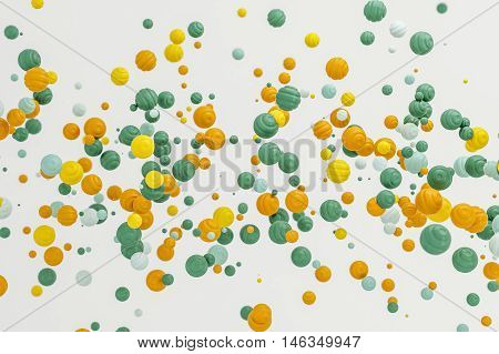 Abstract pastel orange background modern shape object float in the airblowing particle 3d rendering