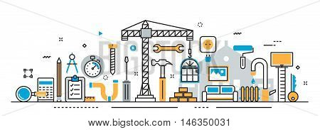 Flat line vector design illustration concept of house and home remodel process repair service building painting renovation construction for website banner and landing page header infographics