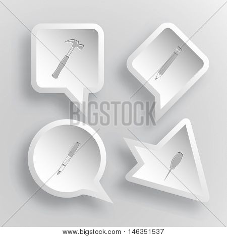 4 images: hammer, pencil, ink pen, awl. Angularly set. Paper stickers. Vector illustration icons.