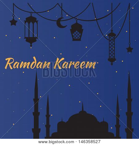 Ramadan Kareem - Islamic Holy Nights, Theme Design background, Ramadan latern, saint fest, arabian and turk religion culture set. Mosque with minaret, east cityscape, Night city