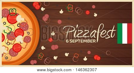 Pizza festival. Pizzafest. Italian Pizza background. Pizza flat design. Flat illustration of pizza