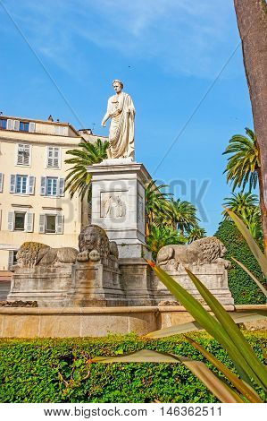 One of three monuments to Napoleon Bonaparte located in Ajaccio the birthplace of the Emperor Corsica France.