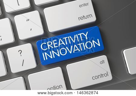 Creativity Innovation Concept: Modern Keyboard with Creativity Innovation, Selected Focus on Blue Enter Key. 3D.