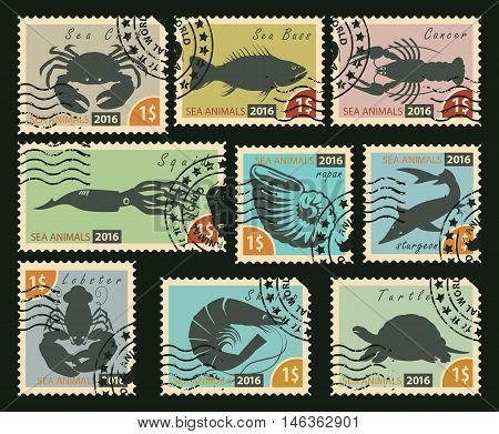 set of postage stamps with silhouettes of sea animals