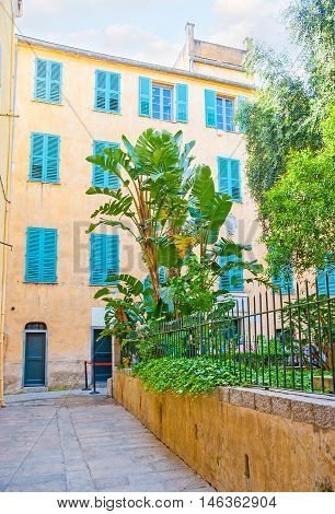 The yellow house with bright blue shutters and the small garden in front of it is the place of birth of Napoleon Bonaparte Ajaccio Corsica France.
