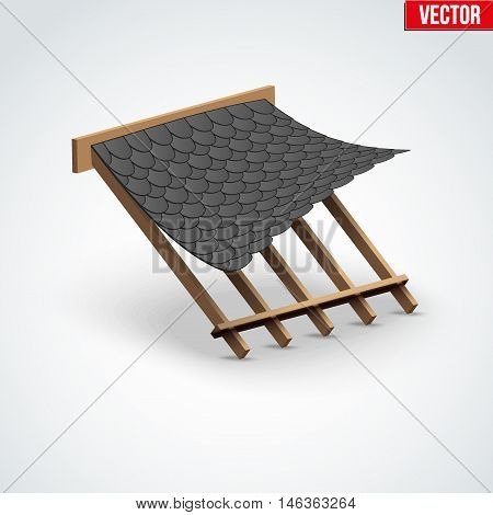Icon black shingles bitumen roofing cover on the roof. Demonstration of coatings and materials. Vector Illustration isolated on white background.