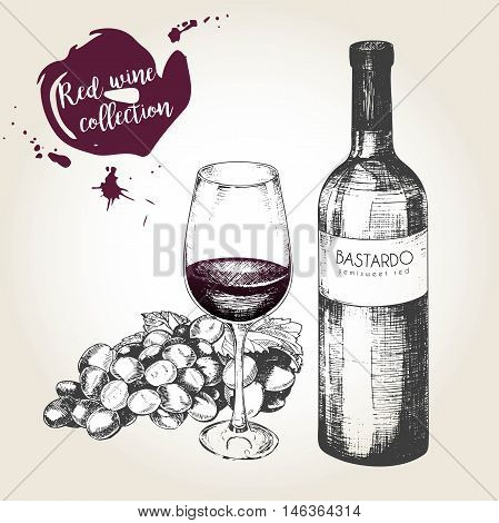 Vector set of red wine in engraved vintage style. Wine bottle glass and grape. Isolated on grunge background. Deorated with lettering and blots. Use for restaurant cafe store food menu design.