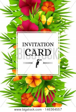 Tropical hawaiian background with jungle palm tree leaves exotic flowers and butterflies. Vertical vector invitation banners with hibiscus floral decorations and copy space