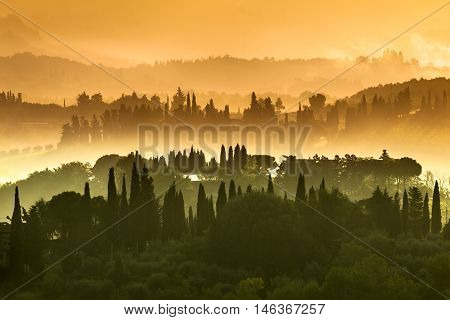 Tuscany Village Landscape On A Hazy Morning In July