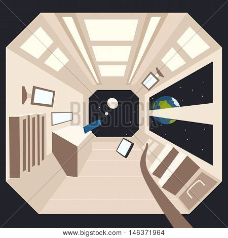 Rocket in space. Vector cartoon illustration. Interstellar spaceship. Interior of spacecraft